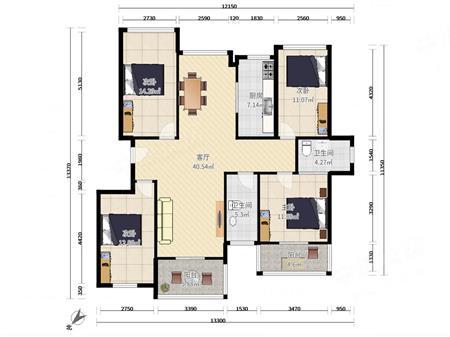 十二橡樹莊園 豪裝四房兩廳兩衛小高層南北通透