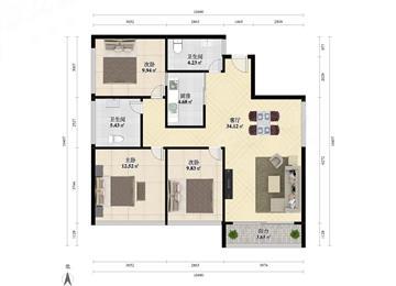 观山大卫华庭三房两厅两卫 豪华装修 满五唯一 急售 价格可谈